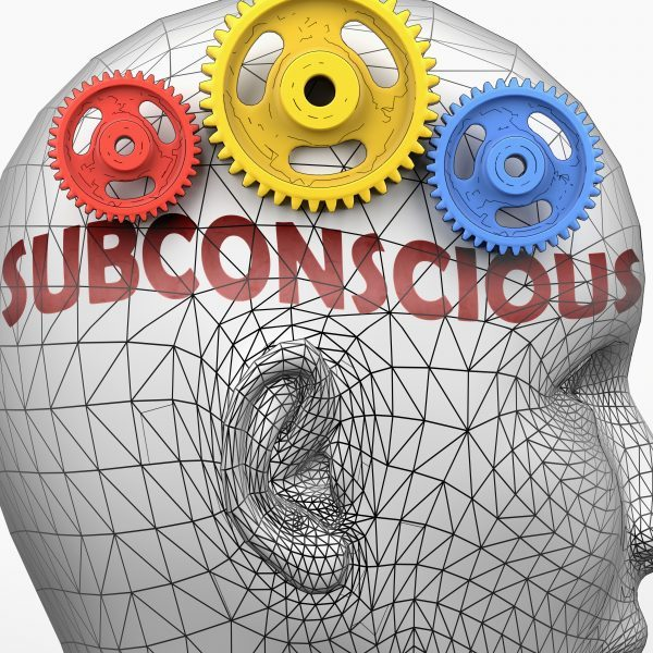 Subconscious and human mind - pictured as word Subconscious inside a head to symbolize relation between Subconscious and the human psyche, 3d illustration.